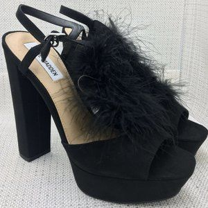Steve Madden Tricia Black Leather Suede Faux Fur